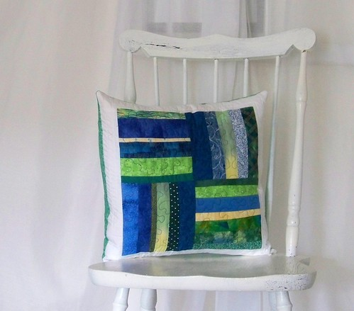 Quilted pillow - blue and green block with white border