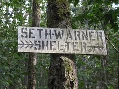 Sign to Seth Warner Shelter