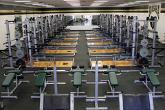 Training room, weight room, gym, hit the gym, lift weights, bulk up, get strong,