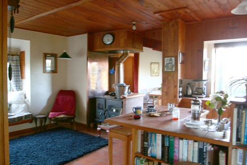 The sitting room and the kitchen