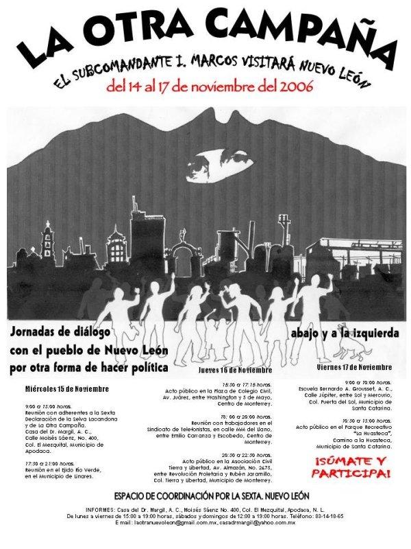 Poster la otra campaña en Nuevo Leon