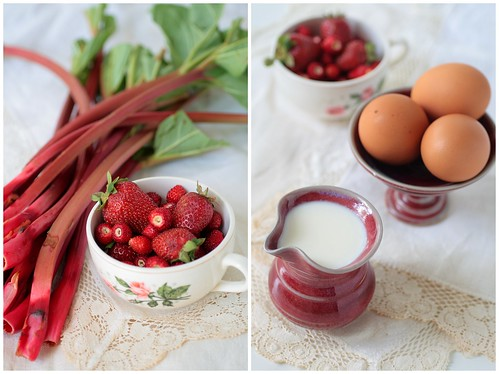 Rhubarb strawberries eggs and cream