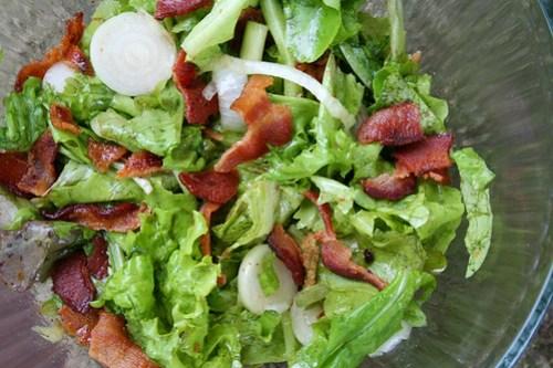 Fresh Garden Salad with Bacon Fat Dressing