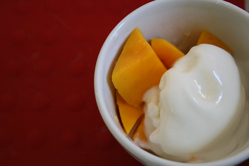 homemade frozen yogurt with mango