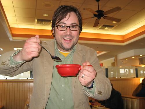 Neal enjoying soup