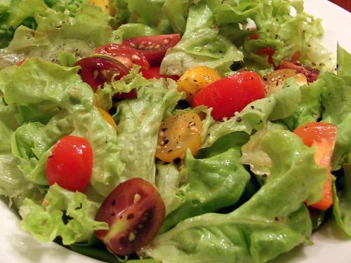 ruffly lettuce, tiny tomatoes