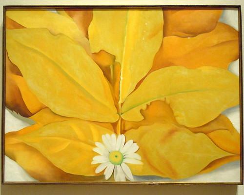 Georgia O'Keeffe Yellow Hickory Leaves with Daisy by pamelainob