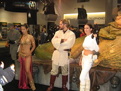 Leia, Obi Wan, and Padme in front of Jabba