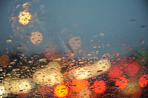 Seattle rain on my windshield, traffic, car's ...
