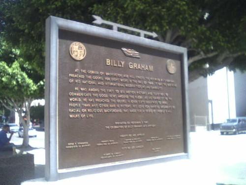 Billy Graham Sign outside LA Metropolitan Courthouse