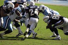Mathews tries to run through the Titans defense