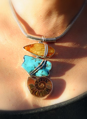 MY NEW HUGE NECKPIECE...AMBER, TURQUOISE AND AN AMMONITE...FROM THE FLEA MARKET