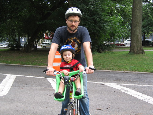 Charlie and Daddy on the bike