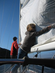 Hoisting the Sail on the Sun Soleil, Channel Islands