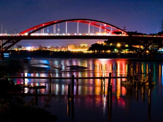 關渡橋夜色, Guandu bridge, Taipei