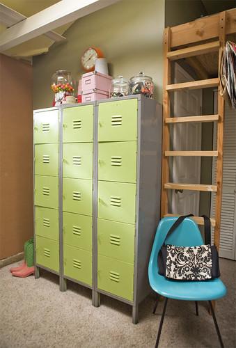 School lockers in our garage/office