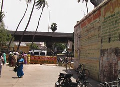 In the backdrop of the road overbridge