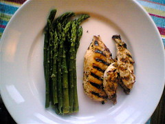 Grilled chicken with new seasonal asparagus