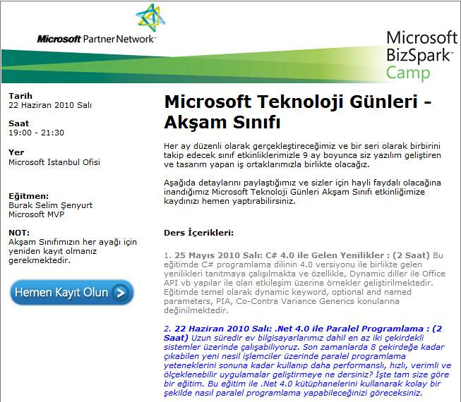 Microsoft Teknoloji Günleri Akşam Sınıfı