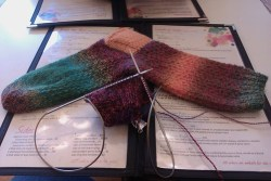 Hermione's Everyday Socks designed by Erica Leuder, aka Awesomesocks. Yarn is frische Fishe Crazy Zauberball