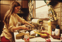 Housewife in the Kitchen of Her Mobile Home in...