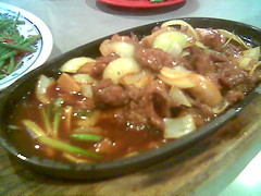 Nice House's sizzling beef on a hot plate