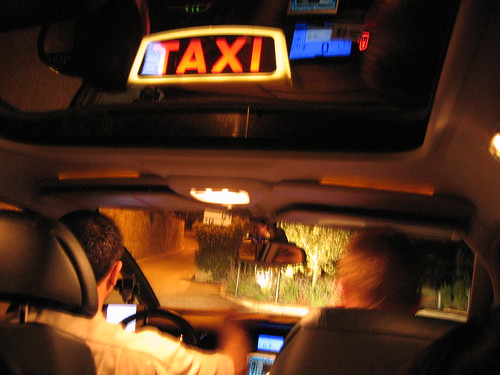 riding a taxicab