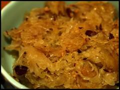 sauerkraut (with porky bits, yum!)
