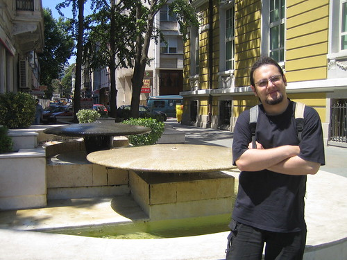 Yan in front of a Zen fountain in Burgas