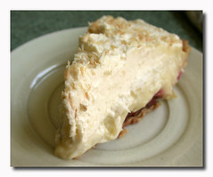 Coconut Cream Pie with Raspberries and Chocolate