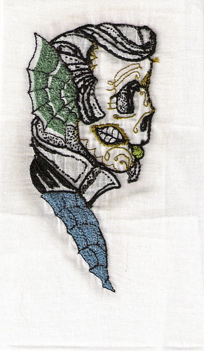 Psychobilly Maori hand embroidered tattoo design by Ash reverse side