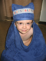 Connor modeling hooded towel