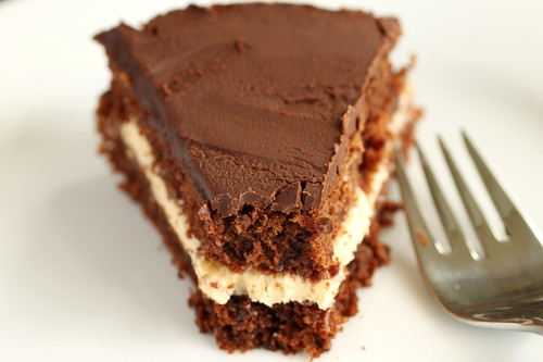 peanut butter-filled chocolate cake