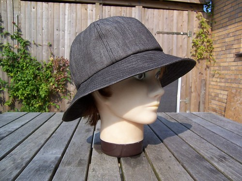 Black denim hat by P8 Accessories & Button Art