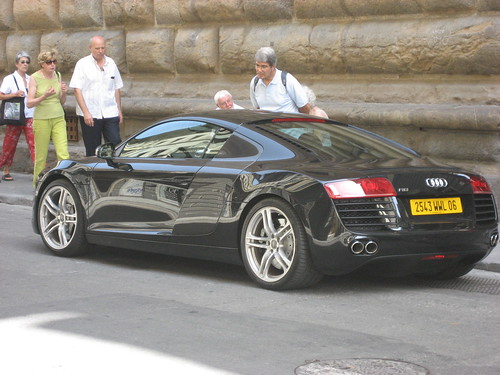 Supercar outside of Louis Vuiton