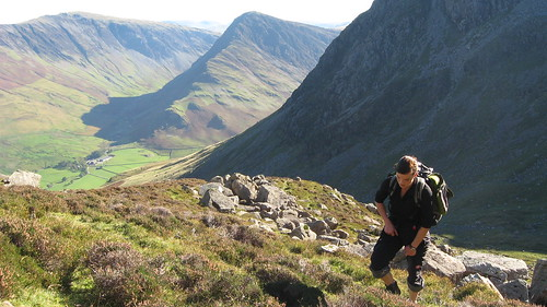 Lucie toiling in the heat en route to Grey Crag