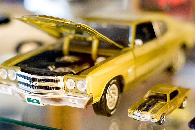 One of Sam George's model Chevelles matches the real thing in his garage