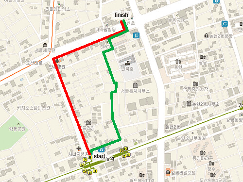 Map of walk from subway station to work