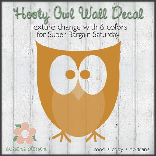 Hooty Owl Wall Decal for Super Bargain Saturday
