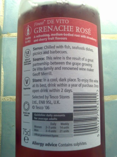 De Vito Grenache Rosé 2006 Back Label