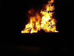Burning car in Wheatley Village