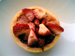 Ruby grapefruit and strawberries