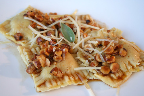 Butternut Squash, Sage, and Goat Cheese Ravioli with Hazelnut Brown-Butter Sauce