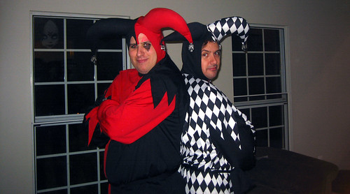 20101030 2202 - Halloween Party at Paul's - two Evil Jesters - double the trouble - IMG_2409
