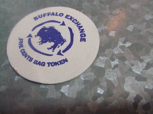 Buffalo Exchanges Tokens for Bags program donates five cents to one of several worthy charities when you bring in your own bag.