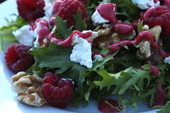 Frisee salad with homemade raspberry vinaigrette