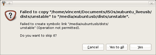 Setting up XubuntUSB - sfailed to create symbolic links, no problem