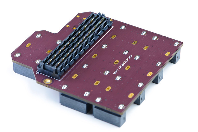 FMC-LPC to SATA adapter board - assembled bottom