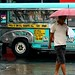 jeepney and pedestrian