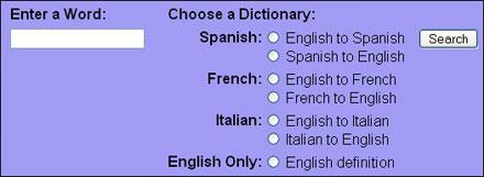 Opciones de WordReference.